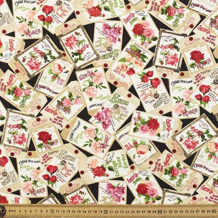 Rose Stamps Cotton Fabric