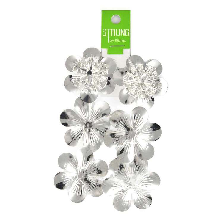Ribtex Strung Metal Round Flower Bead Strand