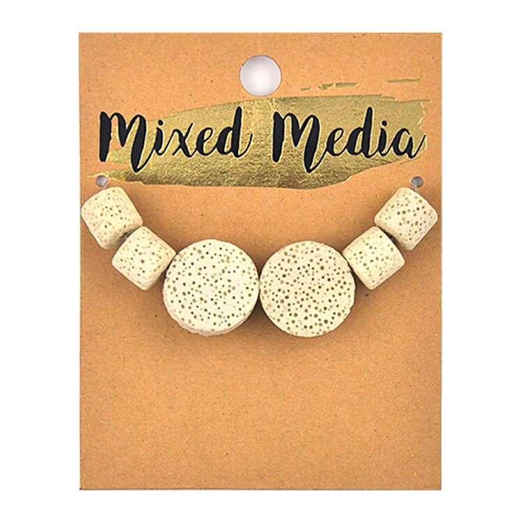 Ribtex Mixed Media Lava Flat Round Tube Bead 6 Pack