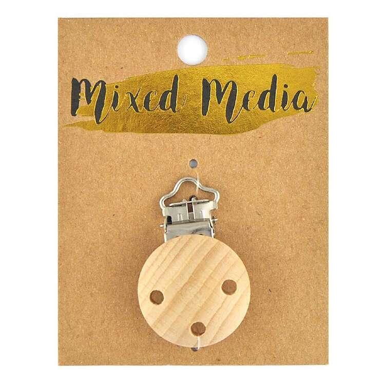 Ribtex Mixed Media Beechwood Pacifier Clip