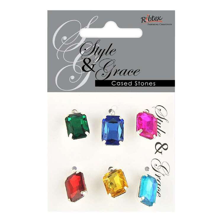 Ribtex Style & Grace Rhinestone Rectangle Charms 6 Pack