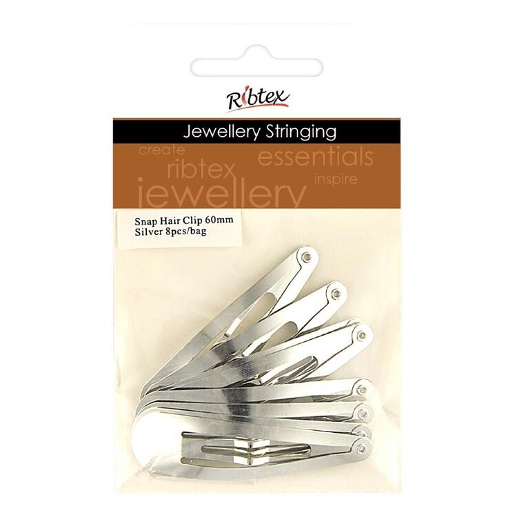 Ribtex Jewellery Stringing Basic Metal Hairclip 8 Pack