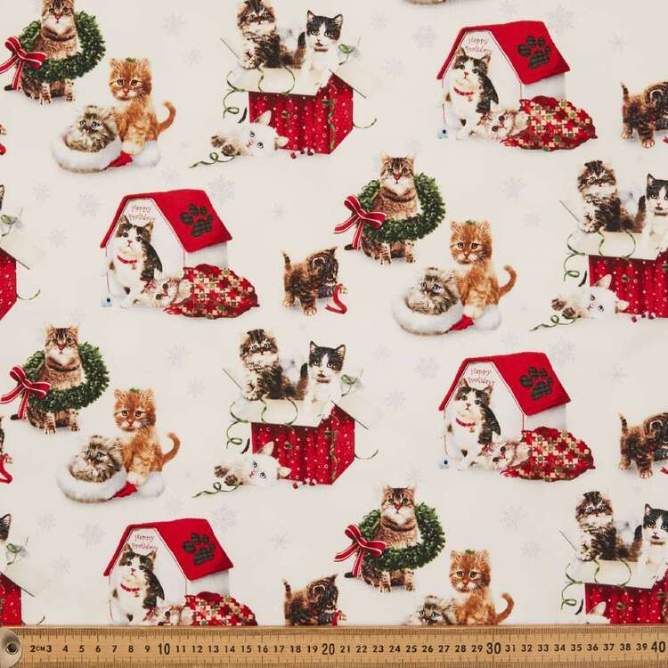 Fireside Kitty Allover Cotton Fabric