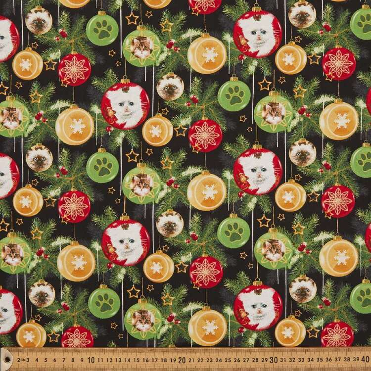 Fireside Kitty Baubles Cotton Fabric