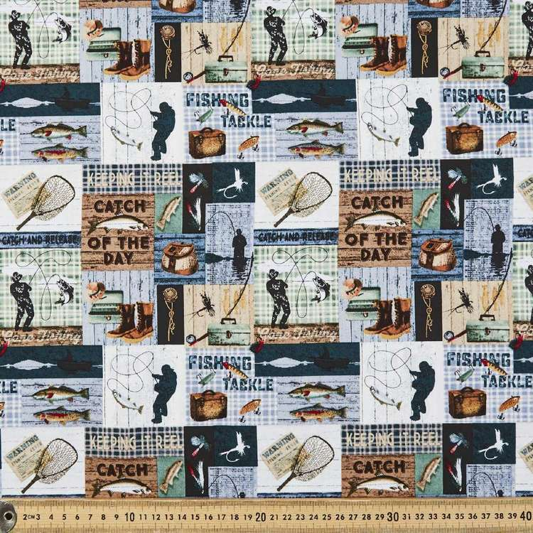 Timeless Treasures Fishing Patch Cotton Fabric