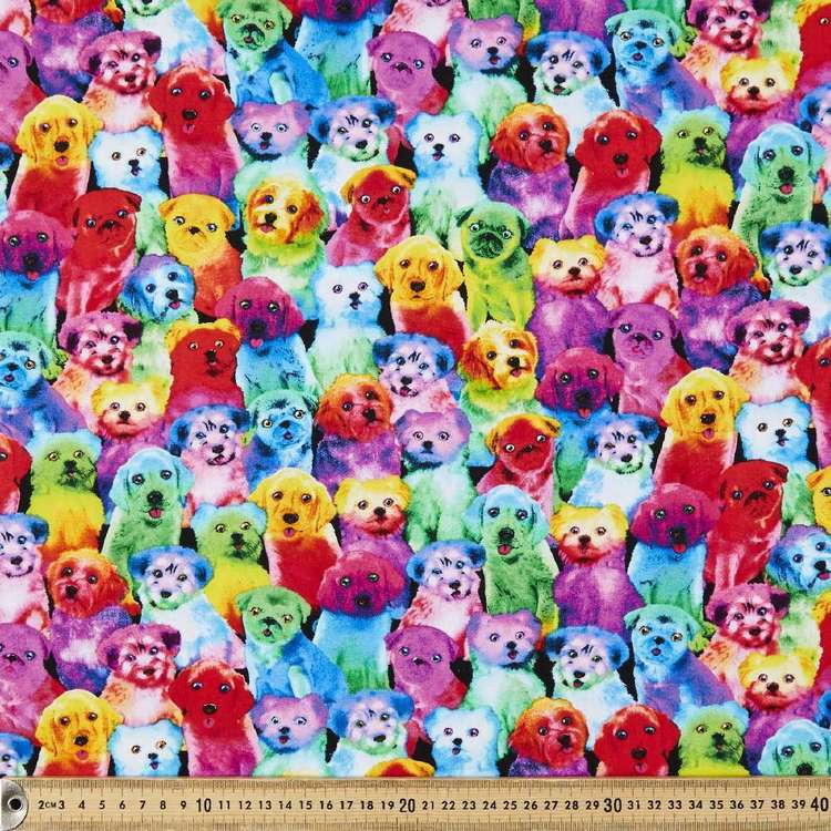 Timeless Treasures Rainbow Pups Cotton Fabric