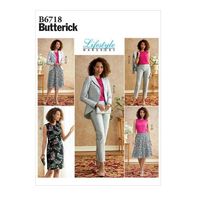 Butterick Pattern B6718 Misses' Jacket, Dress, Top, Skirt, & Pants