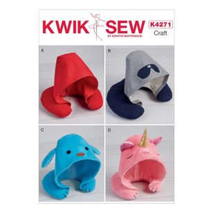 Kwik Sew Pattern 4271 Adults' And Kids' Hooded Travel Neck Pillow