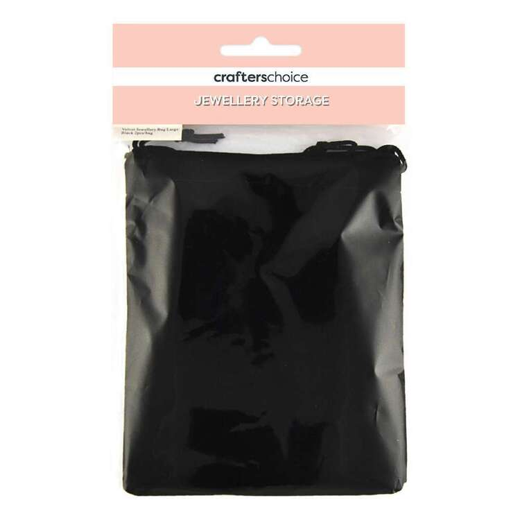 Crafters Choice Velvet Jewellery Bag 2 Pack Black 150 x 120 mm