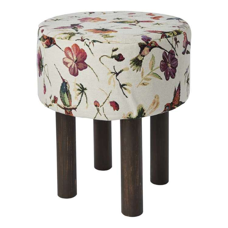 Koo Home Bird Tapestry Footstool Natural 40 x 40 x 47 cm