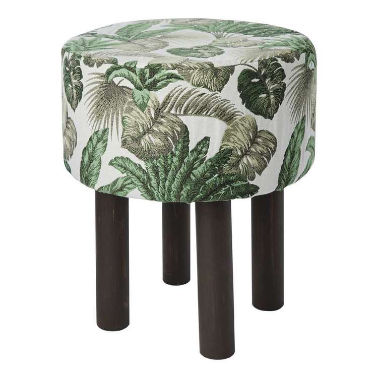 Koo Home Leaves Tapestry Footstool Natural 40 x 40 x 47 cm