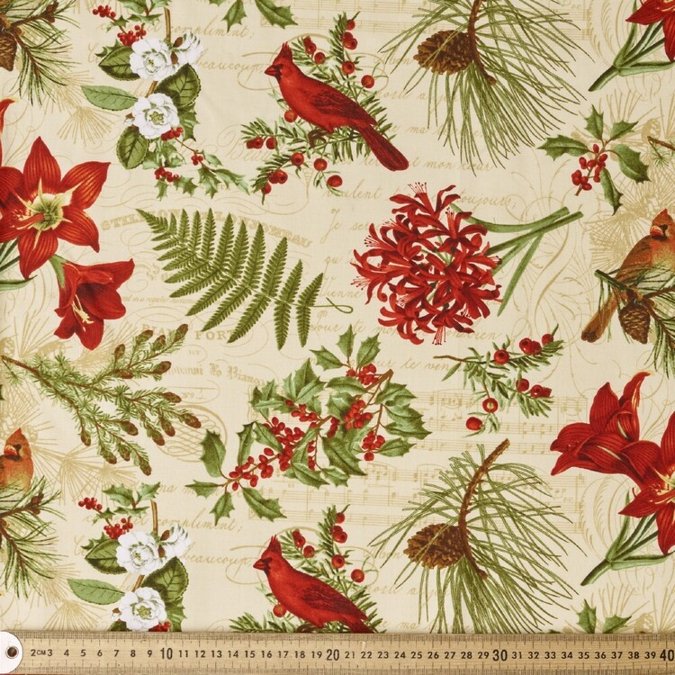 Blank Quilting Yuletide Botanica Allover Cotton Fabric