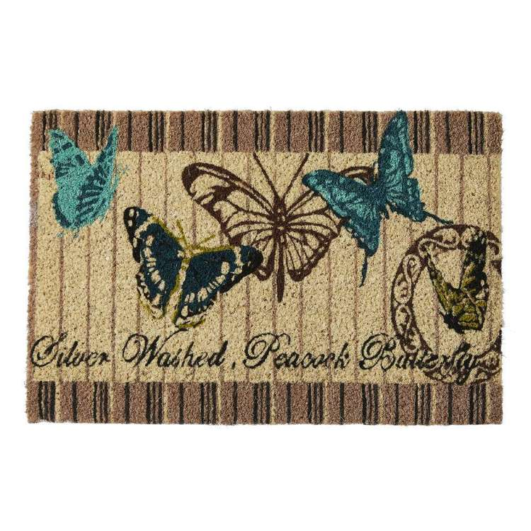 Koo Home Butterfly Printed PVC Backed Mat