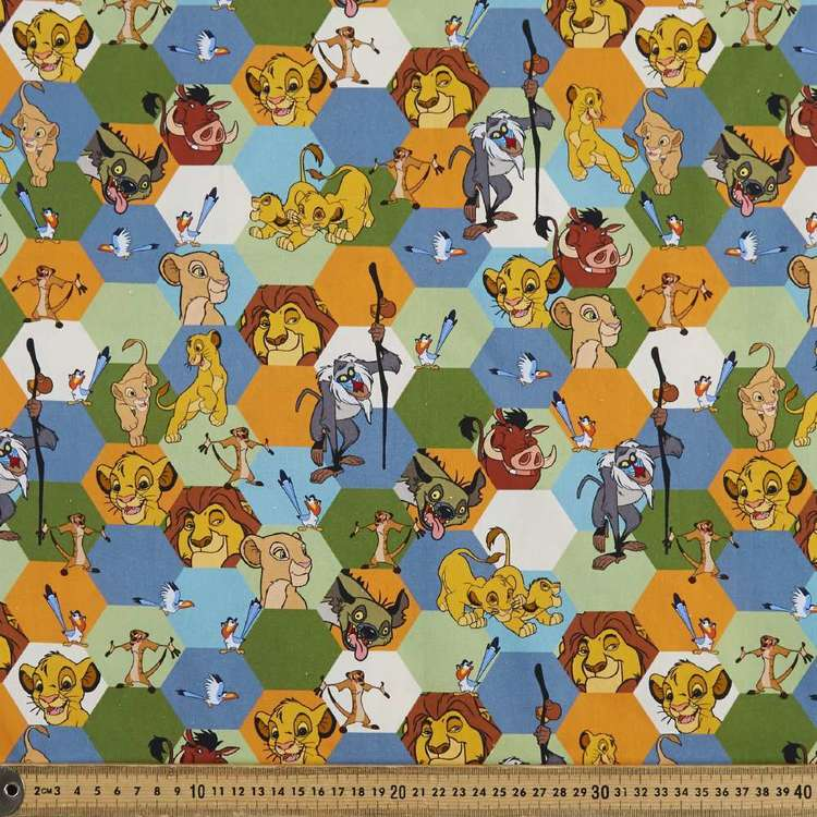 Disney The Lion King Hexagons Cotton Fabric Multicoloured 112 cm