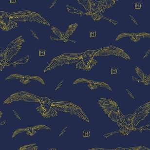 Harry Potter Gold Hedwig Cotton Fabric