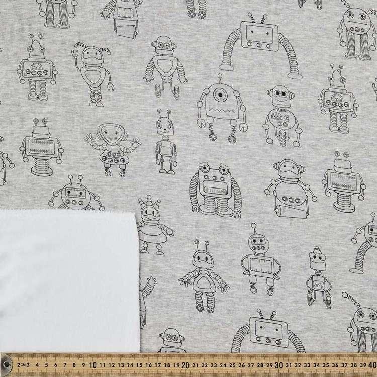 Robot Printed 150 cm Alpine Fleecy Fabric