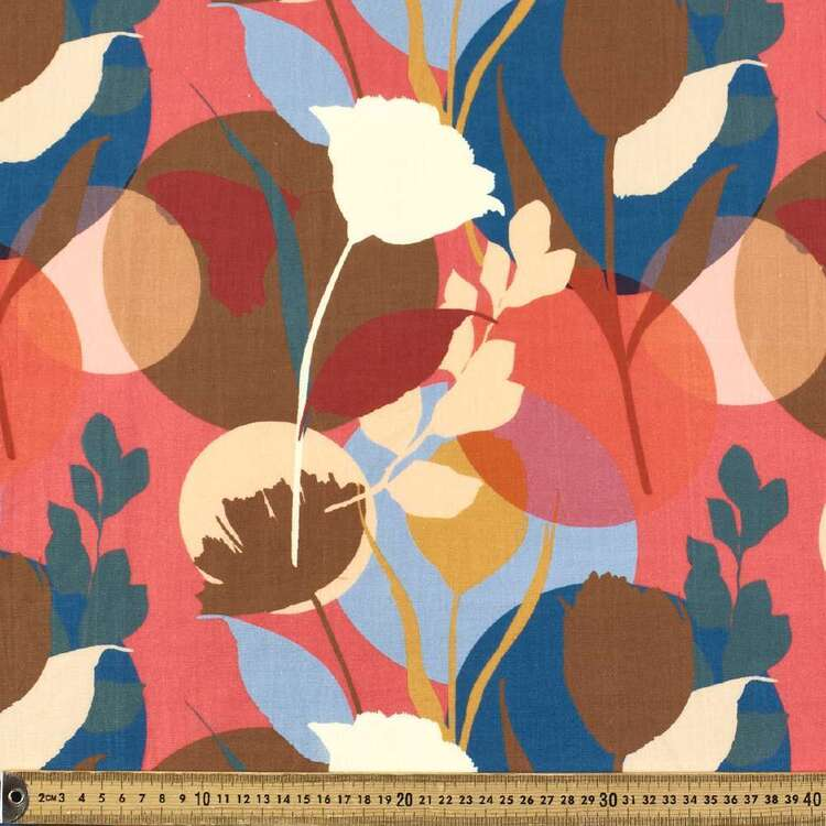 Flowing Flower Digital Printed 112 cm Cotton Linen Fabric