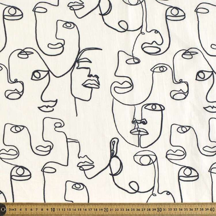 Faces Digital Printed 112 cm Cotton Linen Fabric