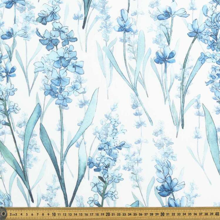 Blues Digital Printed 112 cm Cotton Linen Fabric