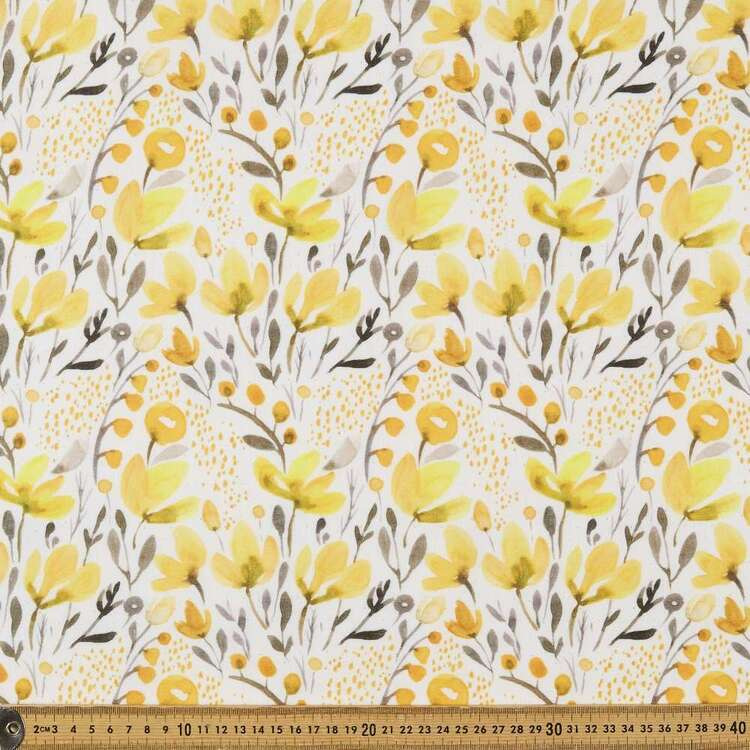 Floral #2 Printed 148 cm Easy Care Linen Look Polyester Fabric