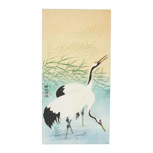 Impact Posters Ohara Koson Two Cranes Framed Canvas
