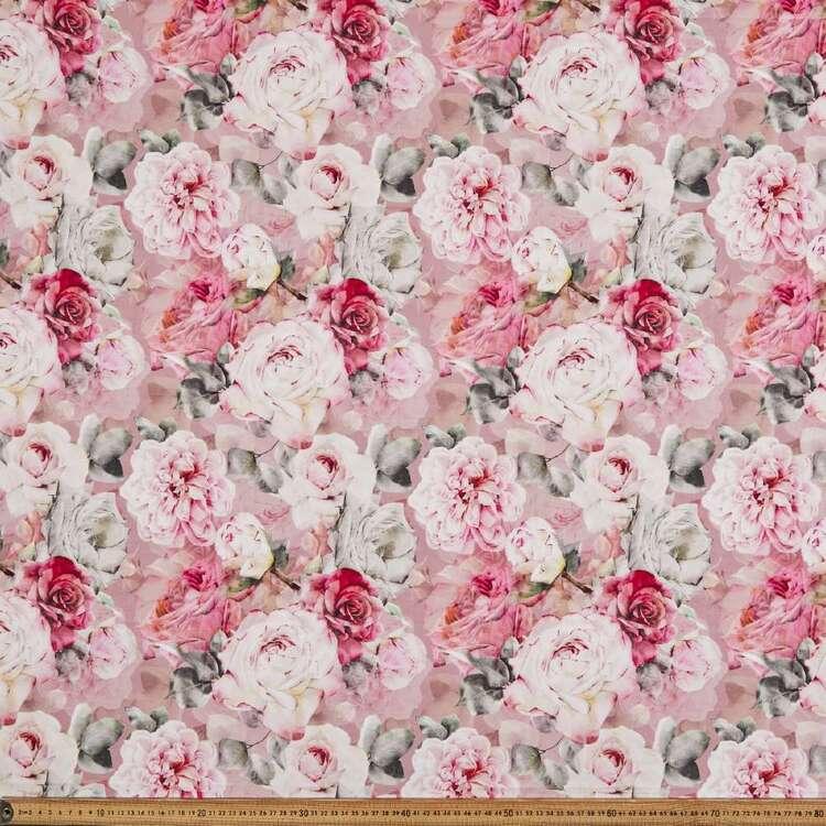 Real Rose Digital Printed 148 cm Cotton Linen Fabric