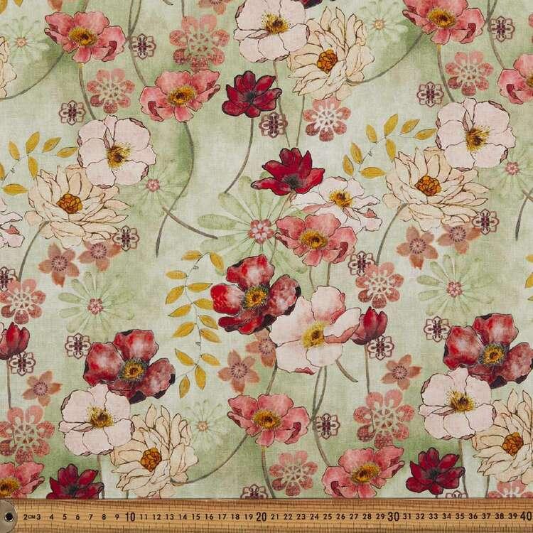 Poppy #2 Digital Printed 148 cm Cotton Linen Fabric