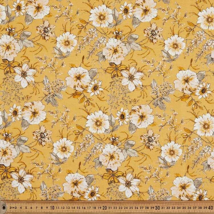 Honey Flower Digital Printed 142 cm Cotton Linen Fabric