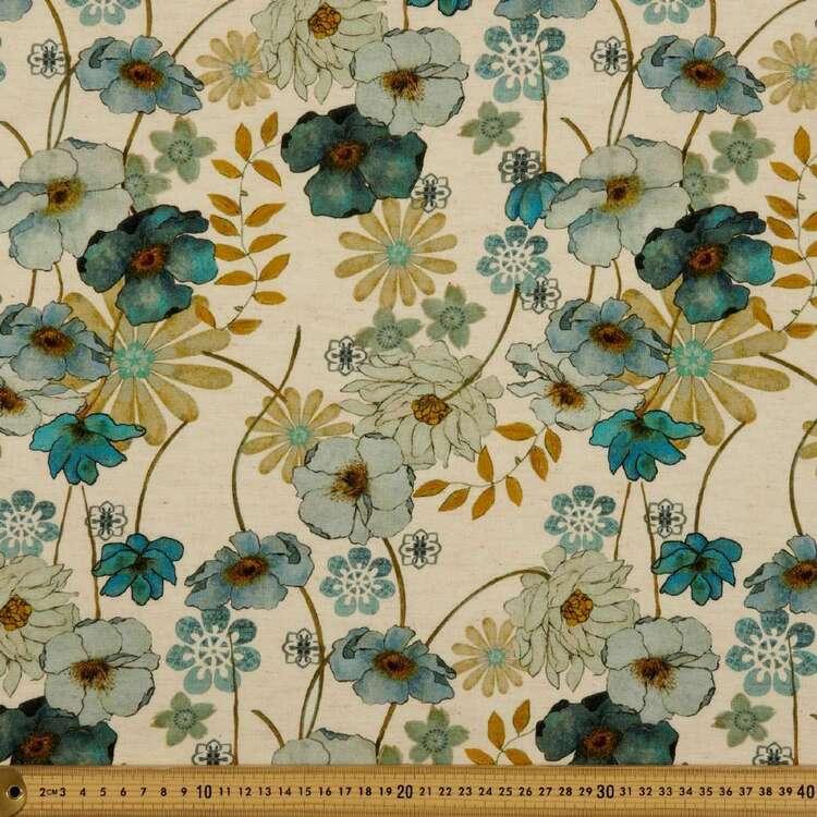 Poppy Denim Digital Printed Viscose Cotton Flax Rayon Fabric