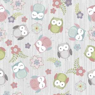 Owls Printed 112 cm Flannelette Fabric