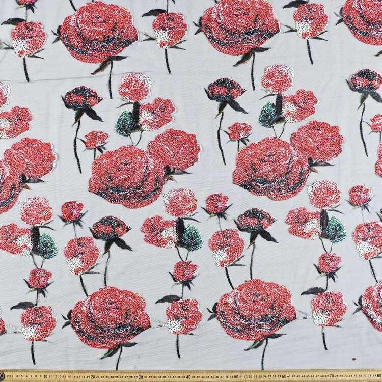 Rose Printed 148 cm Sequin Fabric