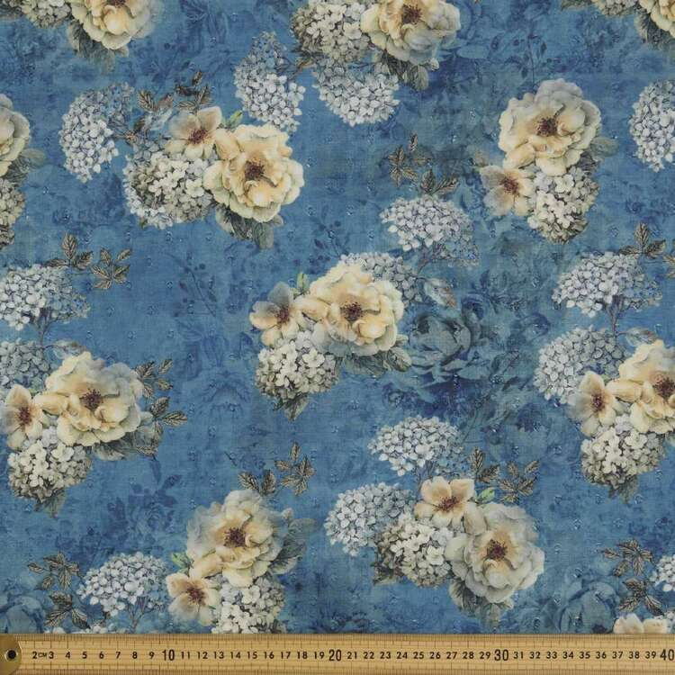 Moody Blue Digital Printed 148 cm Swiss Dot Fabric