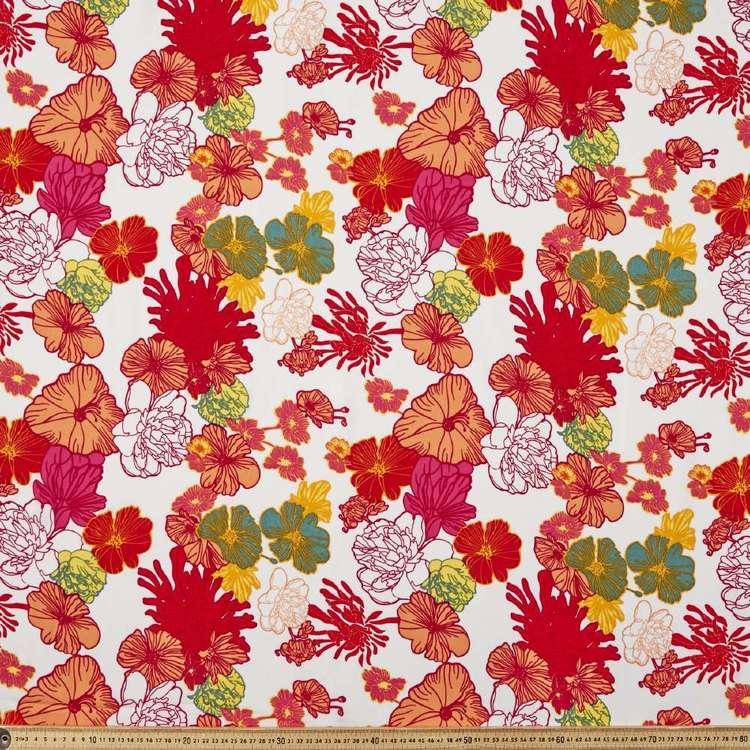 Flower Printed 145 cm Oriental Slub Crepe G6 Fabric