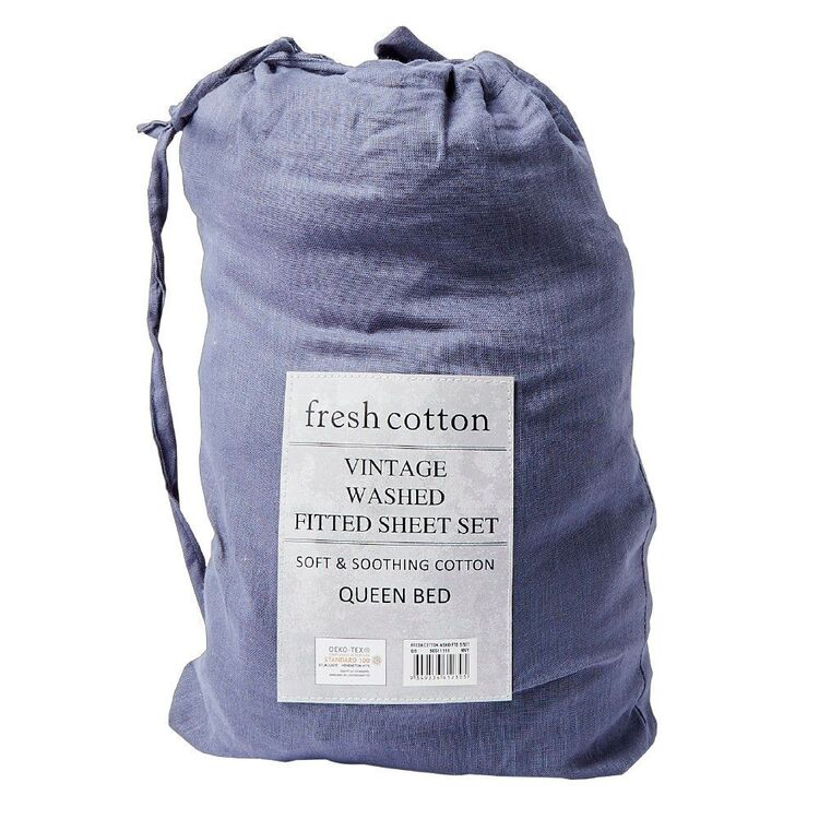 Fresh Cotton Washed Fitted Sheet Set