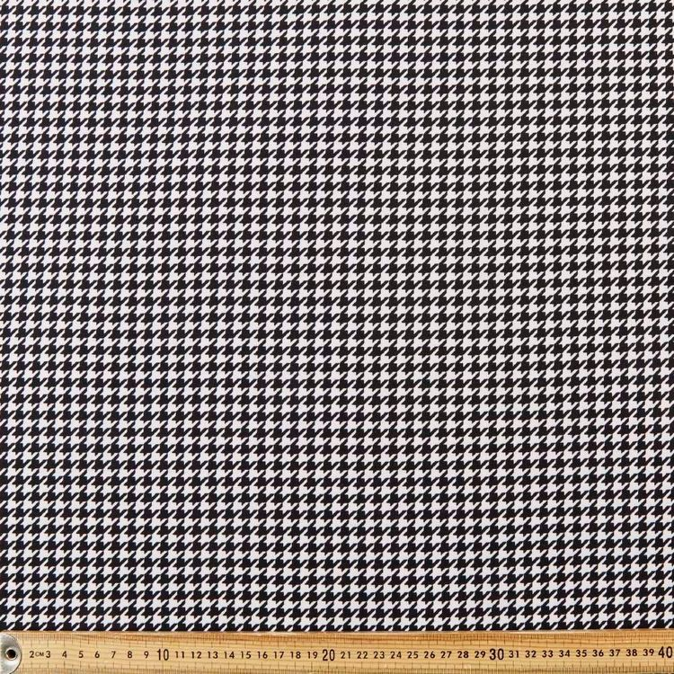 Houndstooth Printed 148 cm Interlock Jersey Fabric