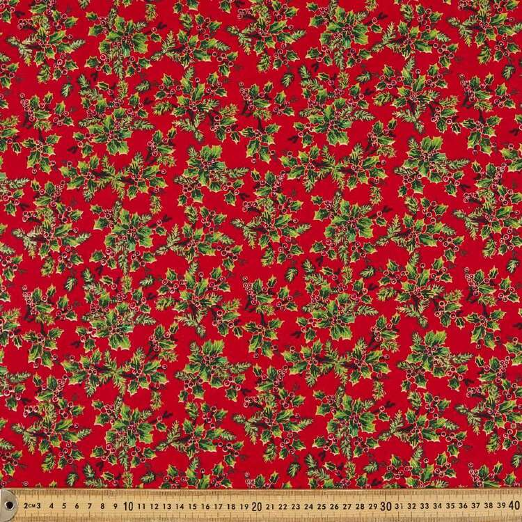 Holly Sprig Cotton Fabric
