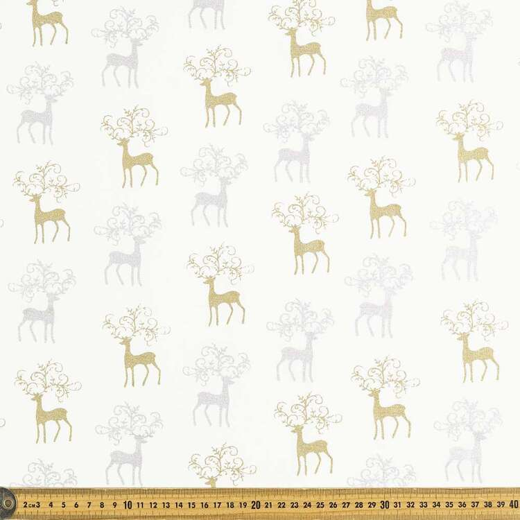 Metallic Gold & Silver Stag Cotton Fabric