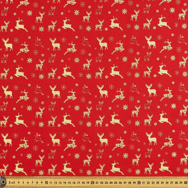 Metallic Christmas Stag Cotton Fabric