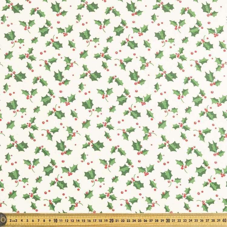 Scandi Large Holly Christmas Cotton Fabric