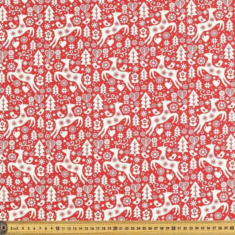 Scandi Stag Tree Cotton Fabric