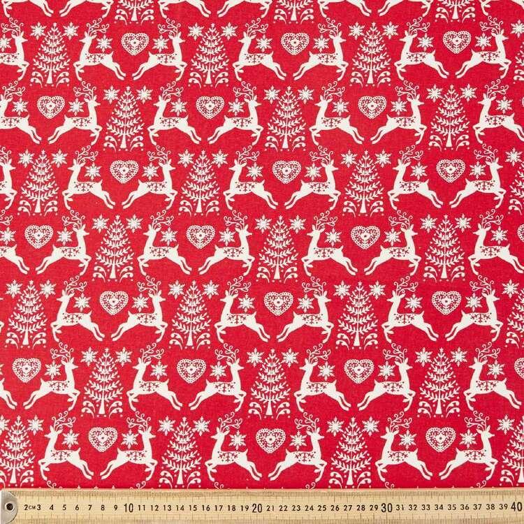 Scandi Tree Deer Cotton Fabric