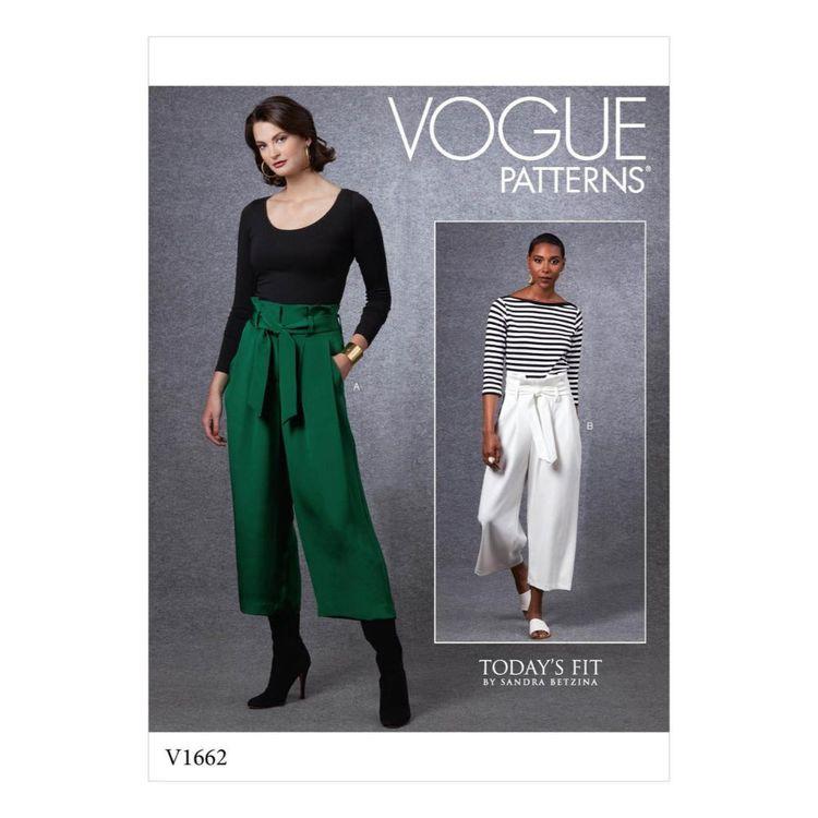 Vogue Pattern V1662 Misses' Pants And Belt