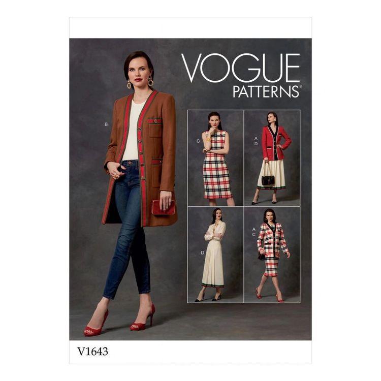 Vogue Pattern V1643 Misses'/ Misses' Petite Jacket, Dress And Skirt