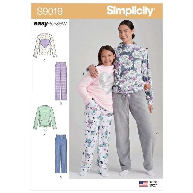 Simplicity Pattern S9019 Girls' & Misses' Loungewear
