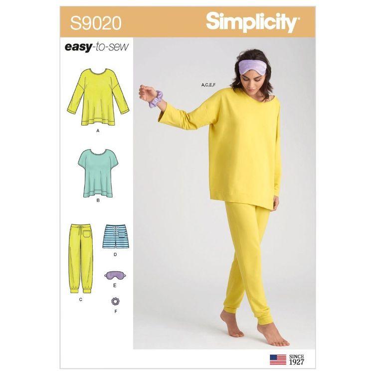 Simplicity Pattern S9020 Misses' Sleepwear Knit Tops, Pants, Shorts & Accessories