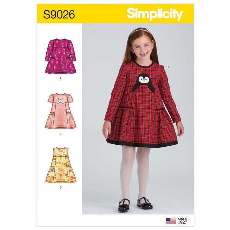 Simplicity Pattern S9026 Children's Animal Applique Pocket Dress