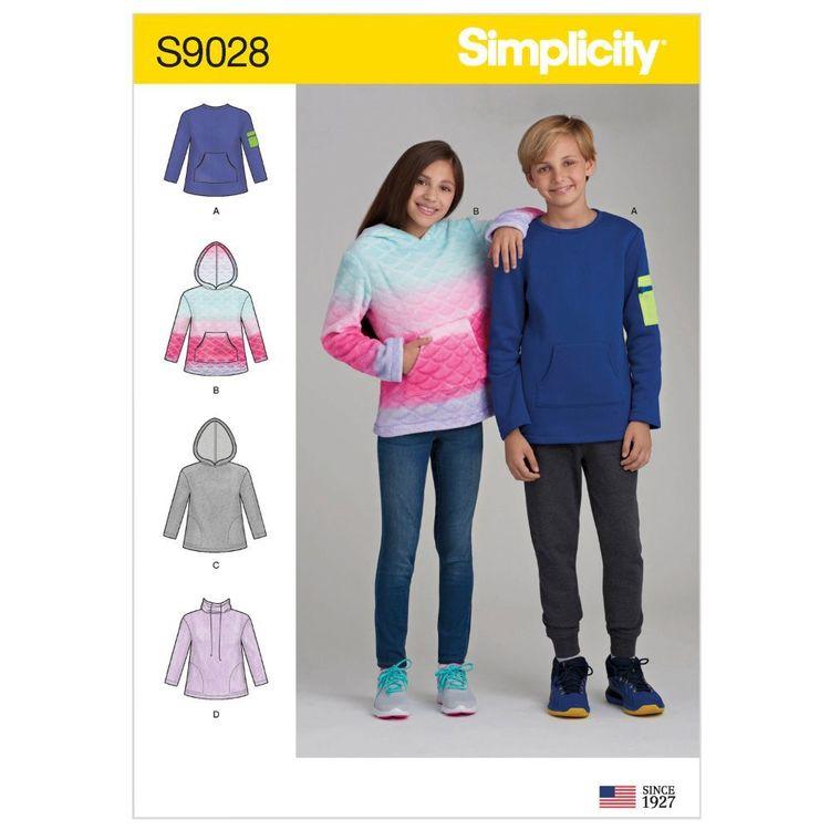 Simplicity Pattern S9028 Girls' & Boys' Knit Tops with Hoodi