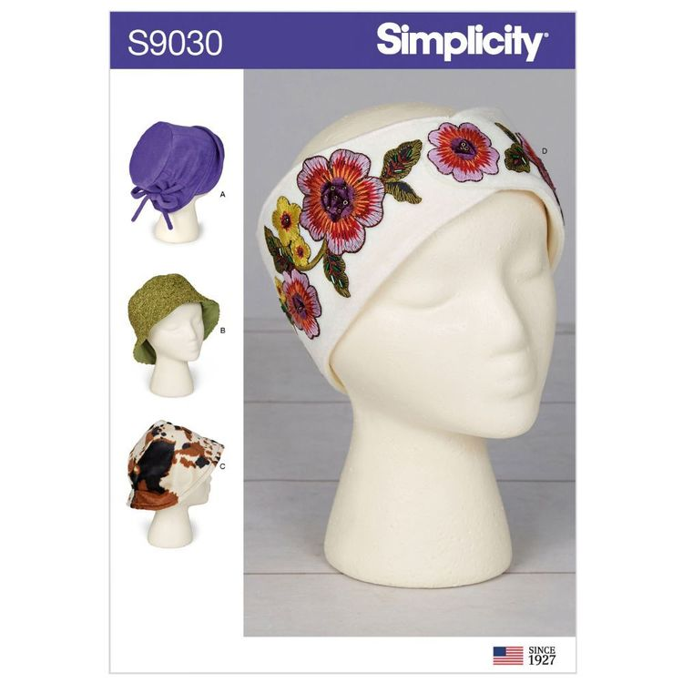 Simplicity Pattern S9030 Misses' Hats & Headband in Three Sizes