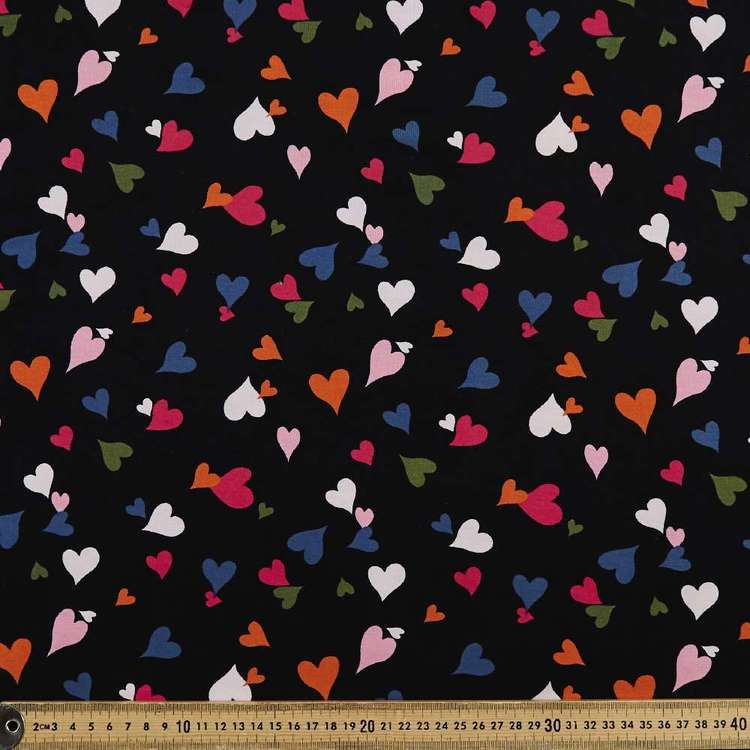 Hearts Printed 148 cm Rayon Spandex Knit Fabric