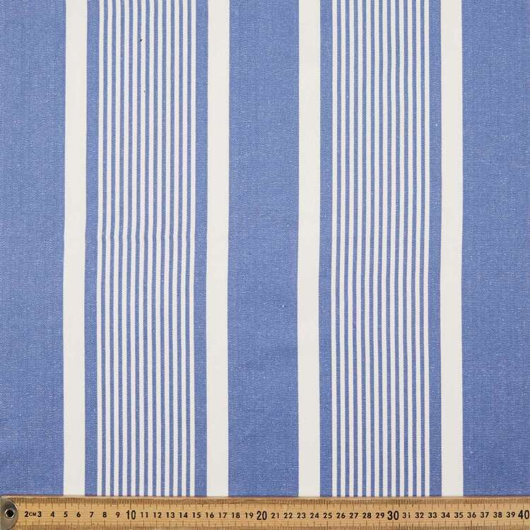 Flanders Stripe Cotton Ticking Denim White